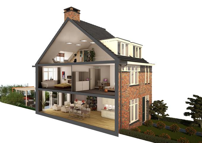 Artist impression doorsnede woning bouwadviesnl for Huis duurzaam maken