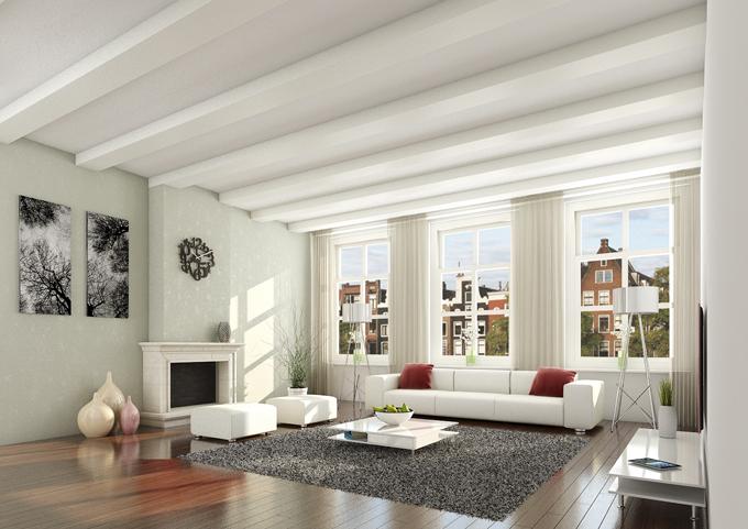 Holzbalken in nieuw gebouw woonkamer inspiratie het for Interieur woonkamer voorbeelden
