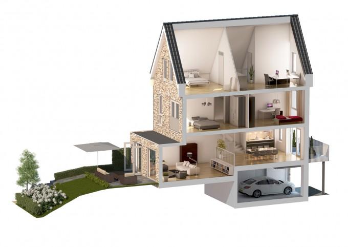 3d impressie doorsnede woning bouwadviesnl - Fotos van de slaapkamers ...
